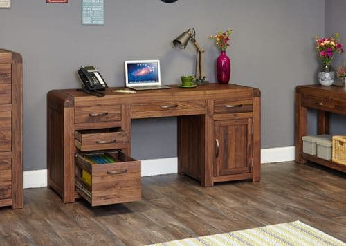Shiro walnut twin pedestal computer desk with keyboard and filing drawers